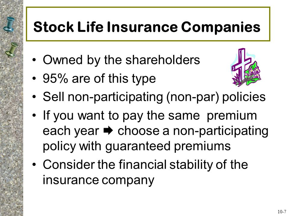 Mutual Life Insurance Companies Owned by the policyholders 5% of policies are from this type of company Participating policy premiums are higher than non-participating policies –Part of the participating premium is refunded to the policyholders annually in the form of a policy dividend 10-8