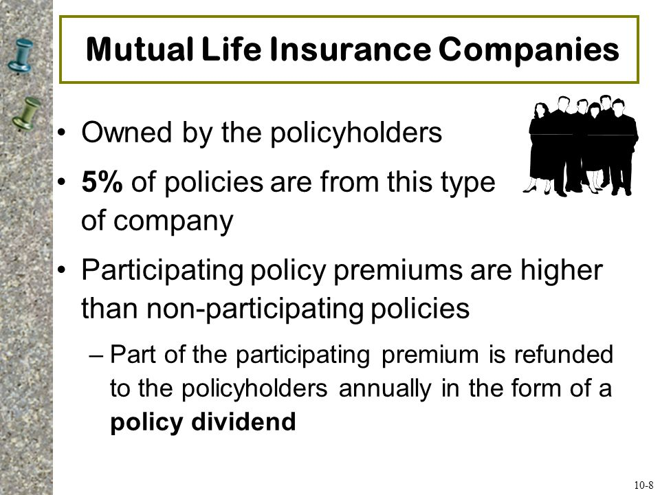 Term Life Insurance Term Life –Protection for a specified period of time –At the end of term (or if you stop paying premiums), coverage stops Many types: –Renewable Term- can renew; higher premium charged –Multiyear Level Term- same premium for set period –Conversion Term- allows change to permanent policy –Decreasing Term- face value decreases over time –Return-of-Premium Term- can get premium back 10-9