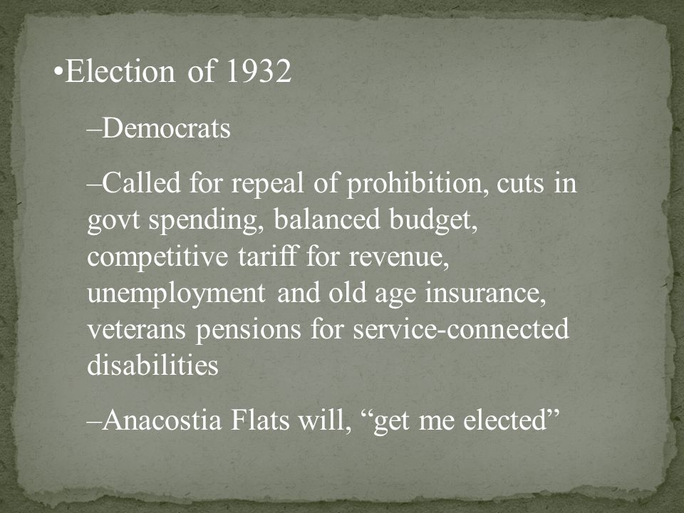 –Republicans –Herbert Hoover: Continued to believe in the laissze-faire efforts of the govt.