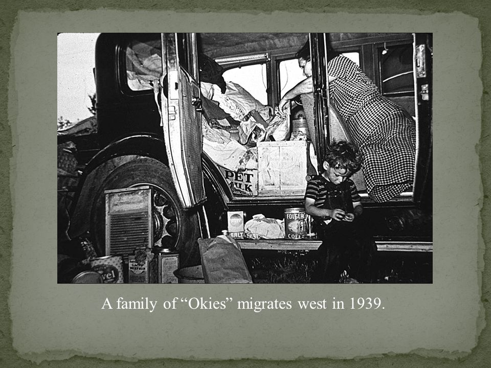 Dorothea Lange photograph entitled Covered Wagon Again, shows Oklahoma residents leaving for California in 1935.