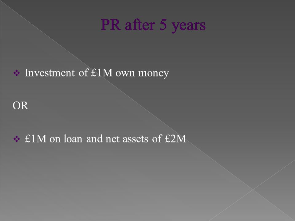  Investment of £5M own money OR  £5M on loan and net assets of £10M