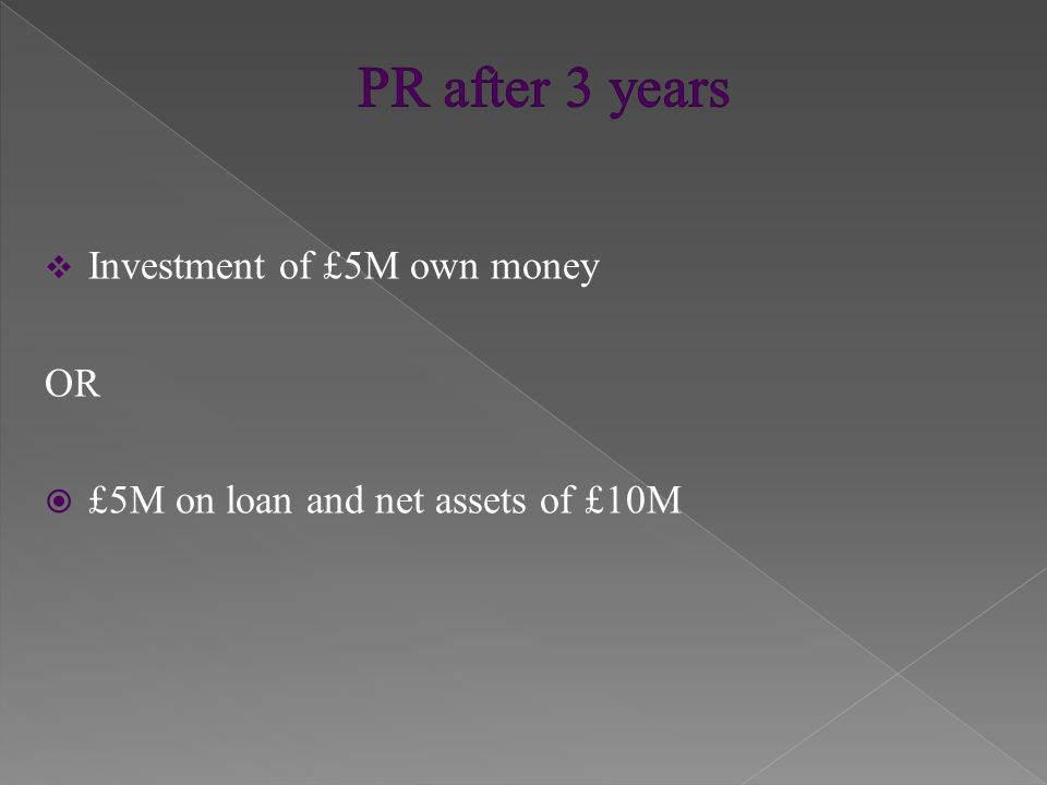  Investment of £10M own money OR  £10M on loan and net assets of £20M