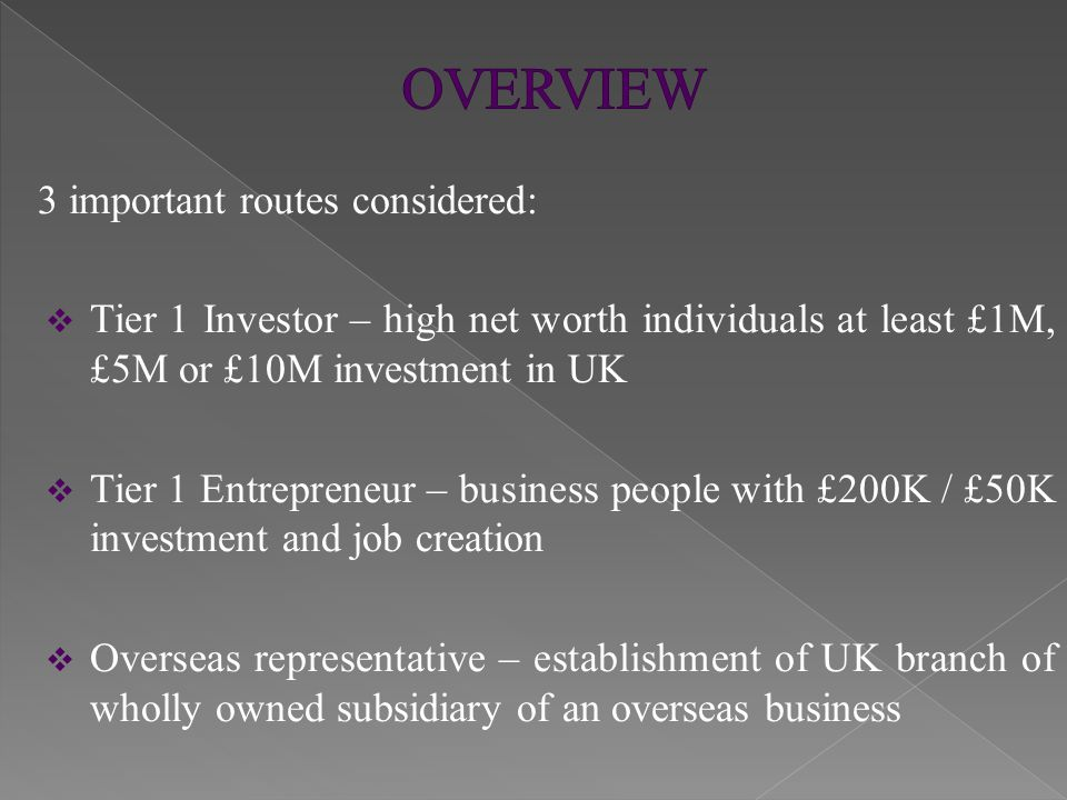  Attractive routes to inward investment into UK  PBS under constant reviews to meet trends in migration and governmental immigration policy  Recent consultation on Tier 1 Investor Thank you for attending and listening Any questions?