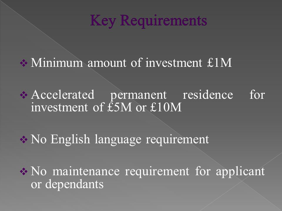 Initial Leave  Initial Entry Clearance is granted for 3 years and 4 months  Initial Leave to Remain is granted for 3 years  Migrants may but are not required to work  Migrants may not work as professional sportspersons  Leave will be curtailed if investment not maintained
