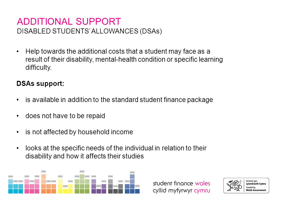ADDITIONAL SUPPORT DISABLED STUDENTS' ALLOWANCES (DSA) Allowance Part-time maximum support Full-time maximum Support Frequency of Payment Non-medical personal helper £15,885£21,181Annual Specialist equipment£5,332 Duration of course Other disability-related expenditure £1,338£1,785Annual Disability-related travel No Limit – reasonable spending can be claimed DSA rates 2015/16