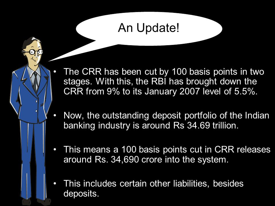 Now… Banks can use this money to lend.A cut in CRR also increases banks' income.