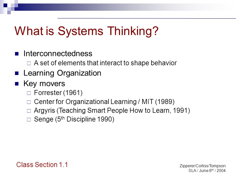 Zipperer/Corliss/Tompson SLA / June 6 th / 2004 Systems Thinking: Proven Value Complex problems that involve helping many actors see the connectedness of the big picture and not just their part of it.