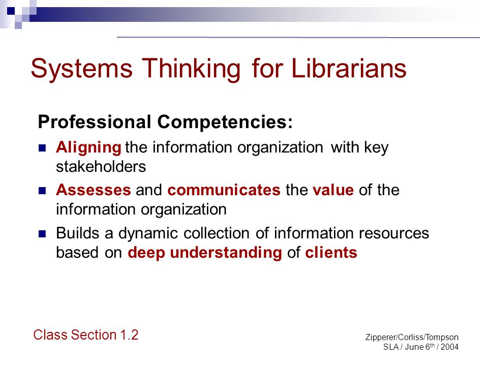 Zipperer/Corliss/Tompson SLA / June 6 th / 2004 Professional Competencies, con't Develops and maintains a portfolio of effective and aligned information services.