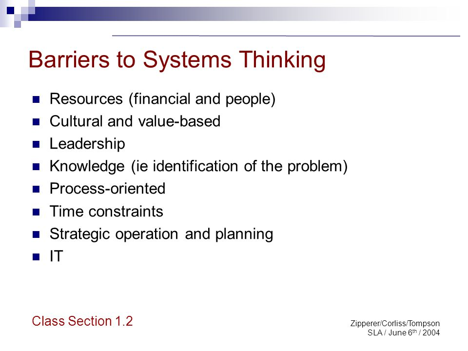 Zipperer/Corliss/Tompson SLA / June 6 th / 2004 Systems Thinking for Librarians: Exploring Impact Stories of Engagement Lorri Rebecca Sara Class Section 1.2