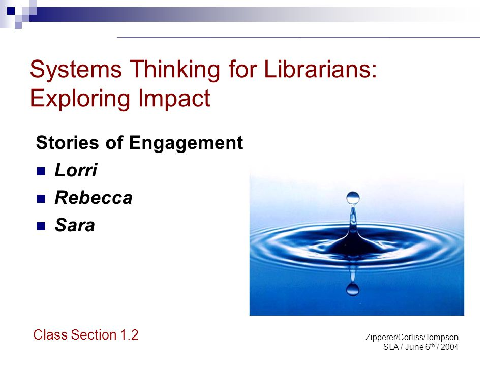 Zipperer/Corliss/Tompson SLA / June 6 th / 2004 Are You a Systems Thinker.