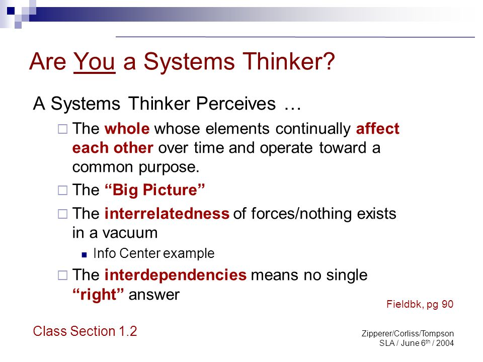 Zipperer/Corliss/Tompson SLA / June 6 th / 2004 Systems Thinking Assessment Complete in five minutes Talley each column Discuss results There are no incorrect responses so be honest with yourself Class Section 1.2