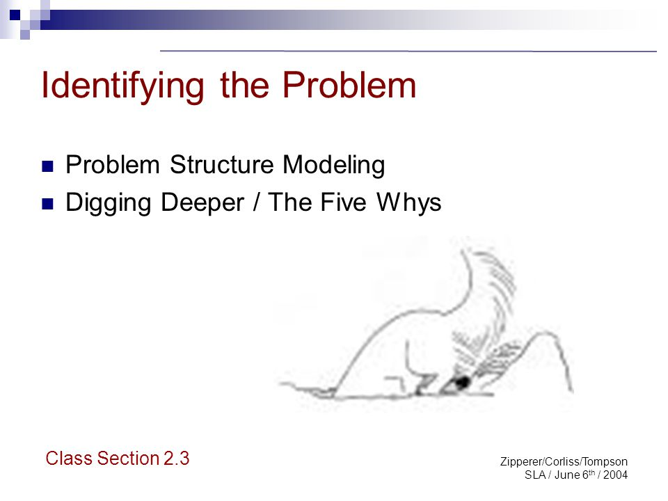 Zipperer/Corliss/Tompson SLA / June 6 th / 2004 Problem Structure Modeling The problem is: Important Chronic Limited in scope Class Section 2.3