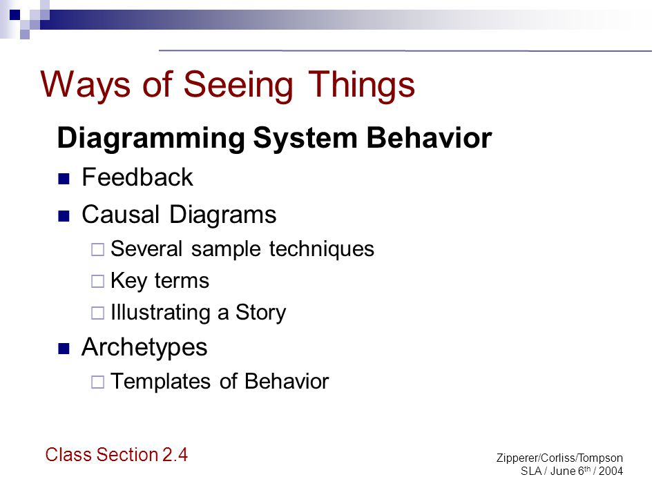 Zipperer/Corliss/Tompson SLA / June 6 th / 2004 Importance of Feedback The practice of systems thinking starts with understanding a simple concept called feedback that shows how actions can reinforce or counteract each other. Peter Senge Class Section 2.4