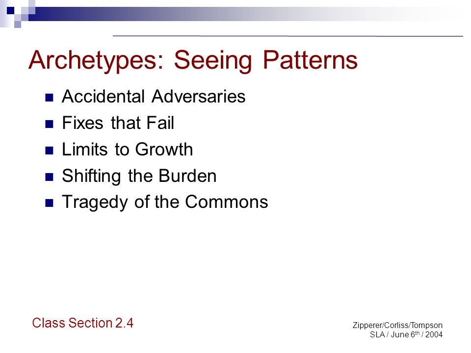 Zipperer/Corliss/Tompson SLA / June 6 th / 2004 Archetypes: Why Bother.