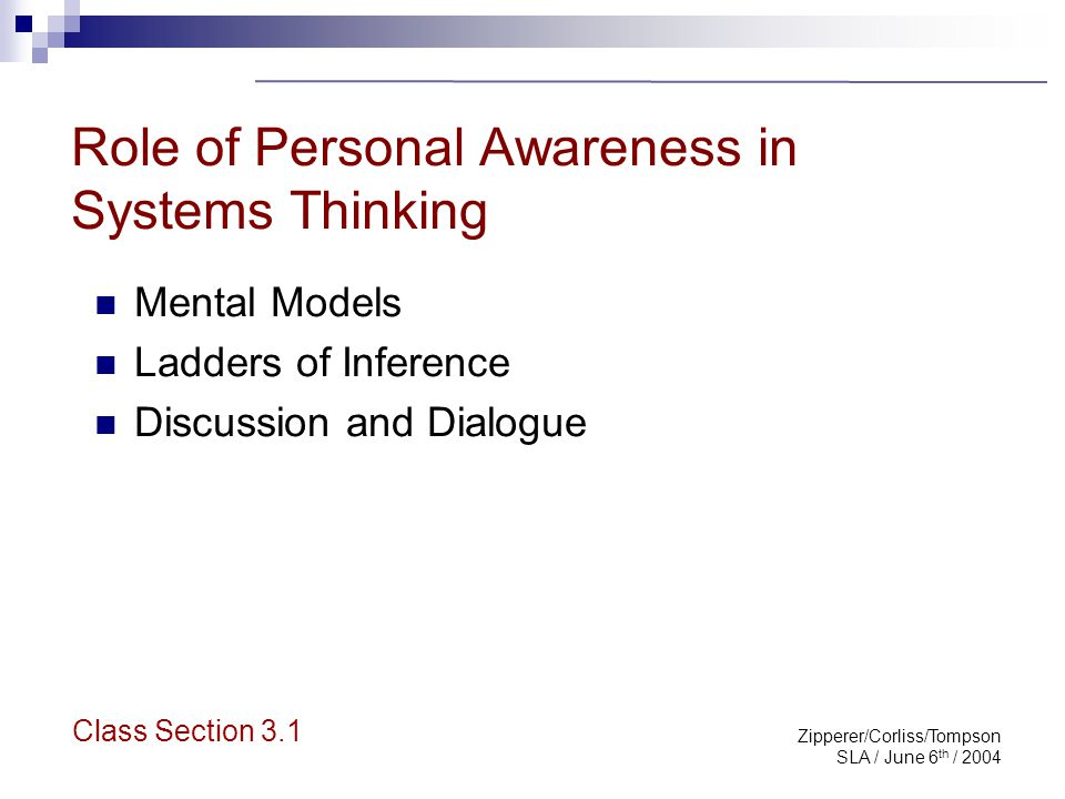 Zipperer/Corliss/Tompson SLA / June 6 th / 2004 Mental Models Are deeply ingrained assumptions Are tacit, not explicit Can derail systems thinking Need tools to expose them  Left hand column  Ladders of inference Class Section 3.1