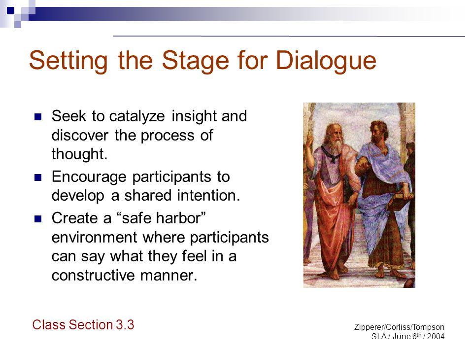 Zipperer/Corliss/Tompson SLA / June 6 th / 2004 Setting the Stage for Dialogue Listen not only to participate but with an openness to change.