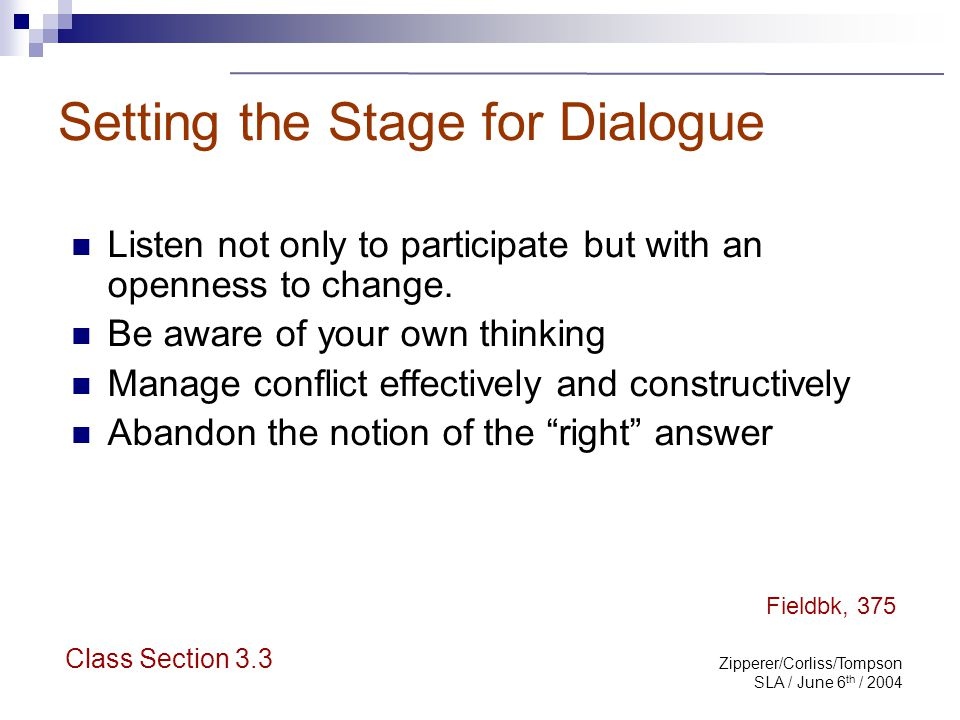Zipperer/Corliss/Tompson SLA / June 6 th / 2004 Dialogue at Pflom Step into the librarian's shoes Structure an opportunity for dialogue Class Section 3.3