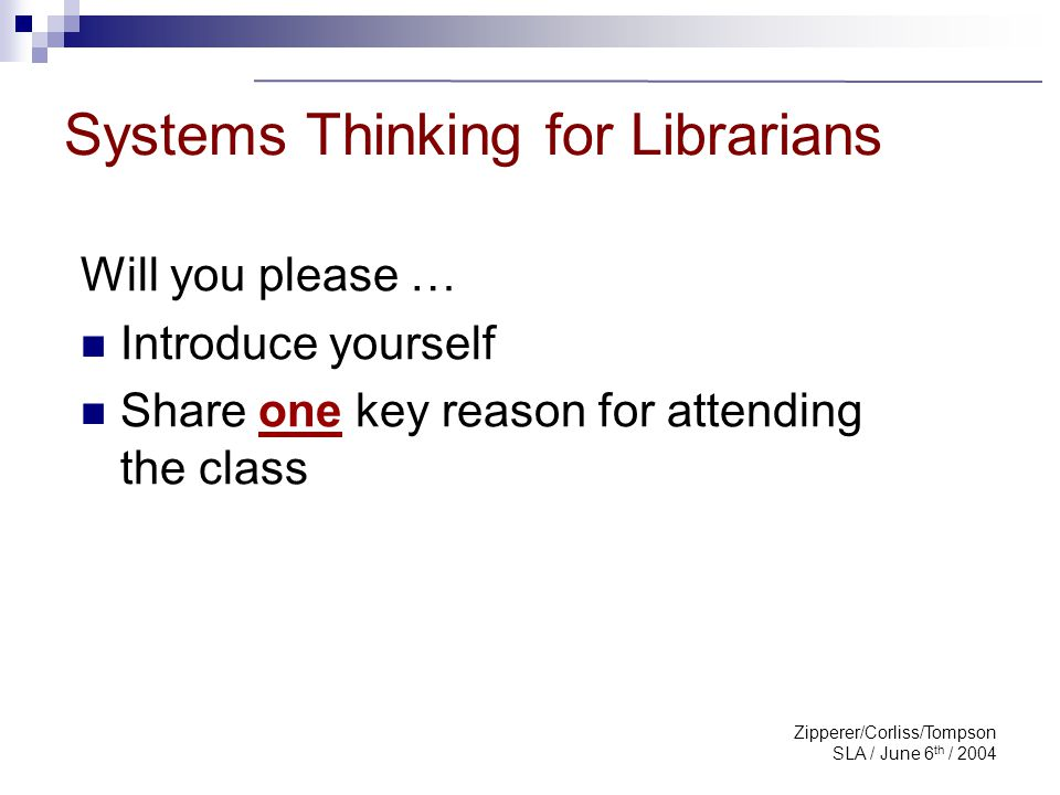 Zipperer/Corliss/Tompson SLA / June 6 th / 2004 PART ONE 1.1 What is Systems Thinking 1.2 Am I A Systems Thinker.