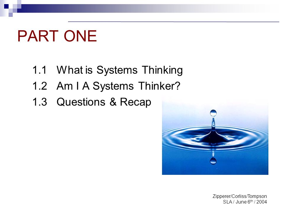 Zipperer/Corliss/Tompson SLA / June 6 th / 2004 What is Systems Thinking.
