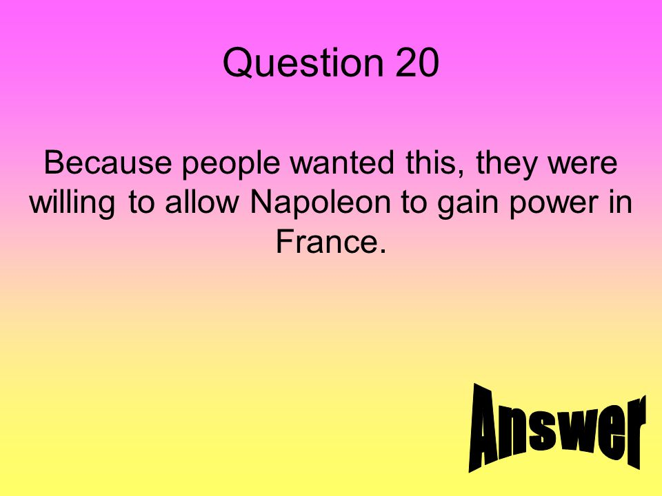 Answer 20 stability in France