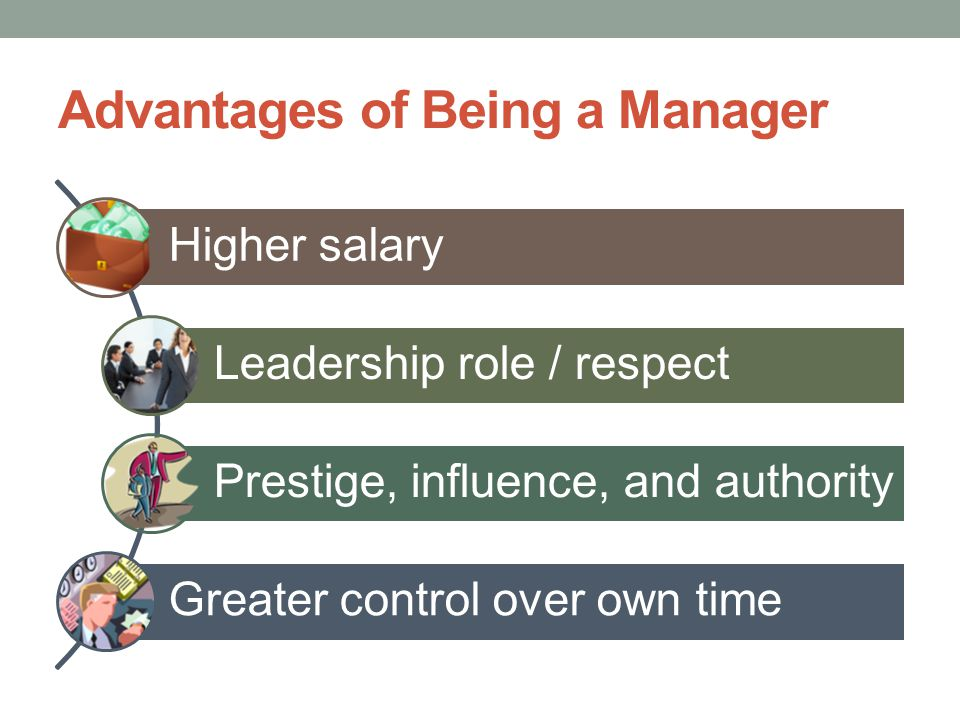 Disadvantages to Being a Manager Blamed when things go wrong Greater demands on time More pressure to make right decisions