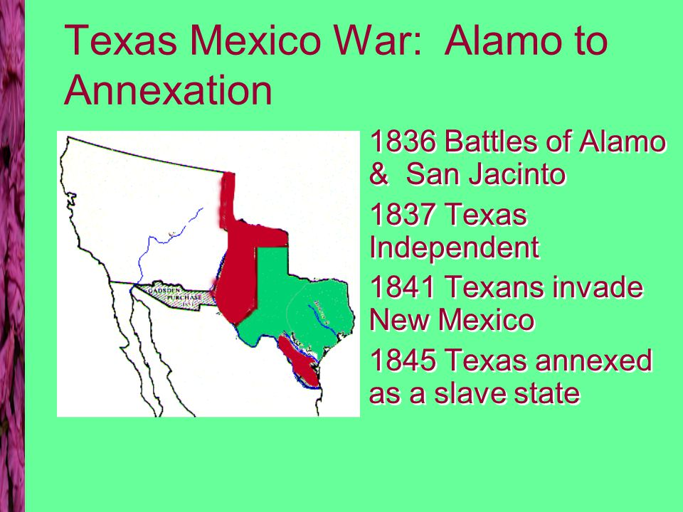 US-Mexico War Slidell Mission 1845 –purchase California & New Mexico –settle Texas dispute May 1846 war begins 1848 war ends Treaty of Guadalupe Hidalgo Slidell Mission 1845 –purchase California & New Mexico –settle Texas dispute May 1846 war begins 1848 war ends Treaty of Guadalupe Hidalgo