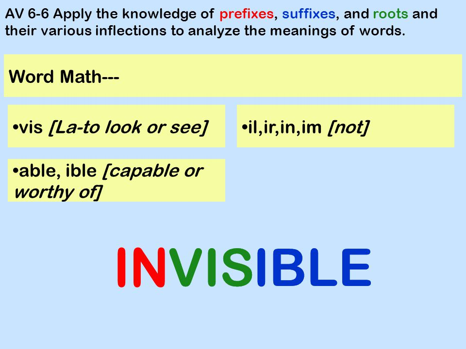 Word Math--- hypo [under] AV 6-6 Apply the knowledge of prefixes, suffixes, and roots and their various inflections to analyze the meanings of words.