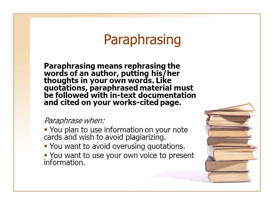 Summarizing Summarizing involves putting the main idea(s) of one or several writers into your own words, including only the main point(s).