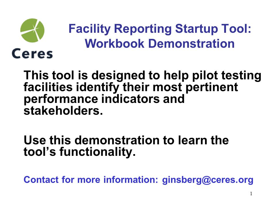 2 Facility Reporting Project It's not too late to become a pilot testing facility.