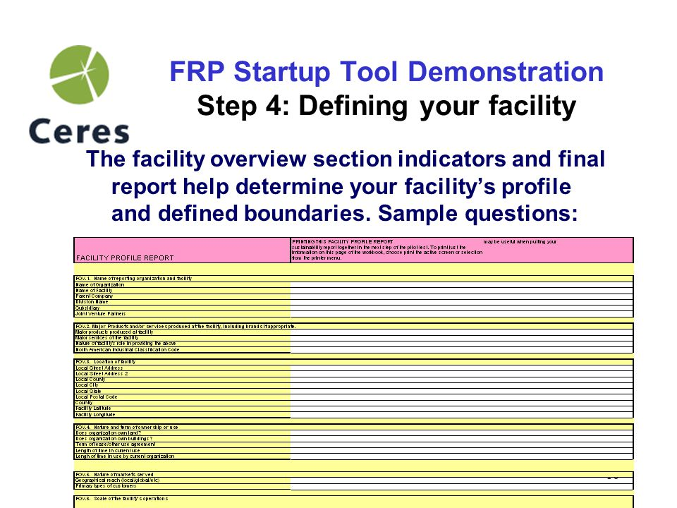 11 FRP Startup Tool Demonstration Step 5: Consider indicator applicability The Guidance has many more indicators than you are expected to report on.