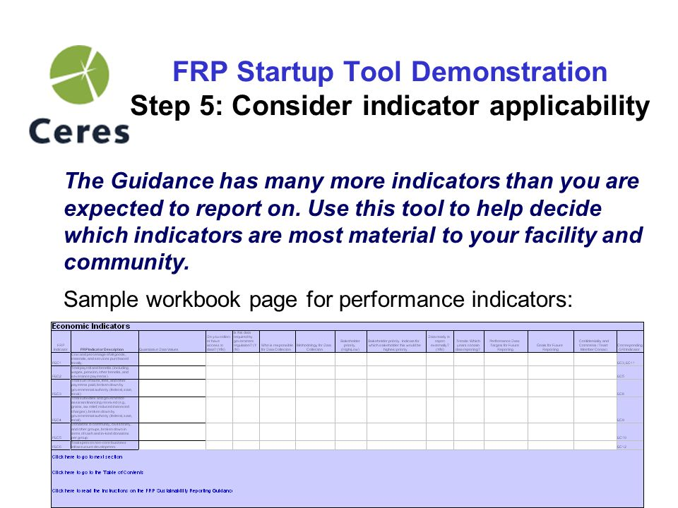 12 FRP Startup Tool Demonstration Step 6: Working with the indicators The following categories are the fields to fill in for each indicator in the workbook: