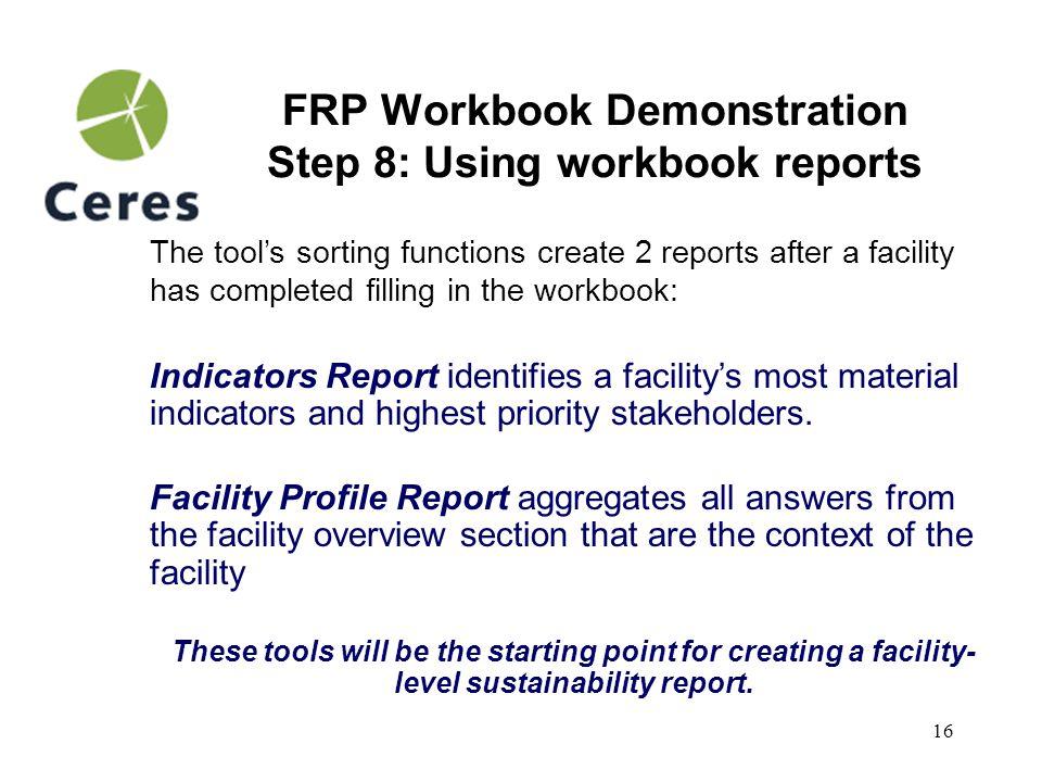 17 FRP Workbook Demonstration Indicators Report