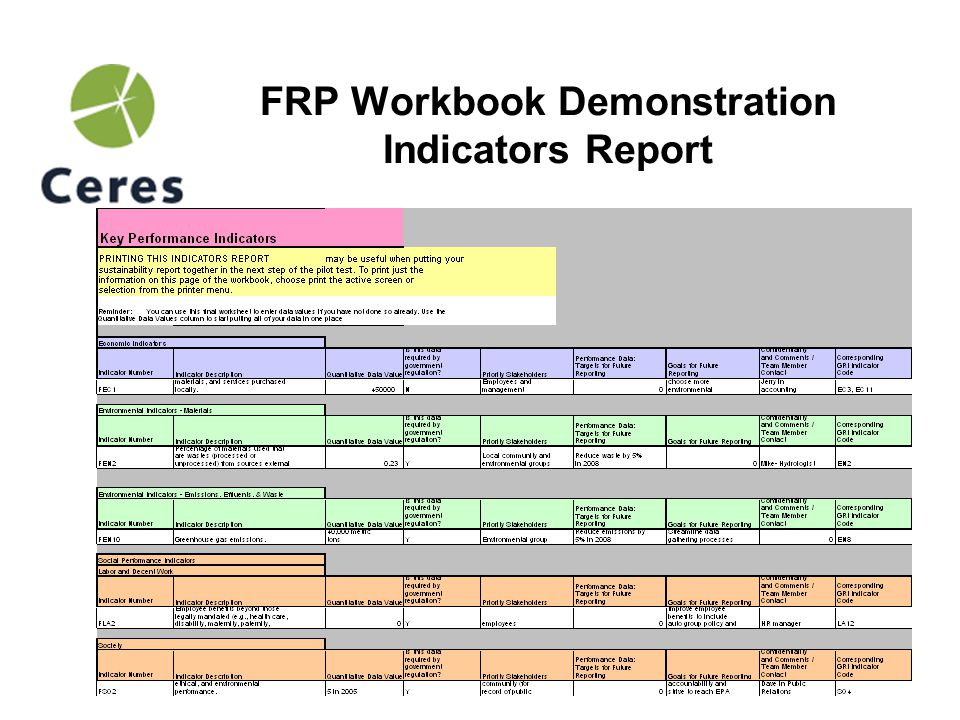 18 FRP Workbook Demonstration Facility Overview Report
