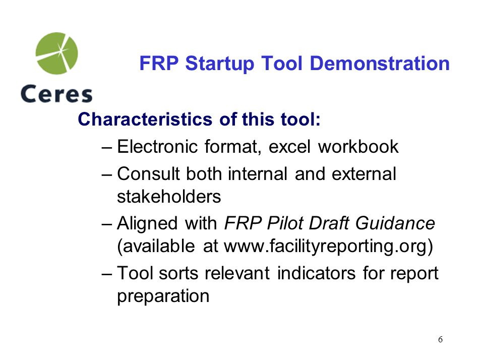 7 FRP Startup Tool Demonstration Step 1: Become familiar with tool The tool begins with an instructions page that is linked to every other workbook page.