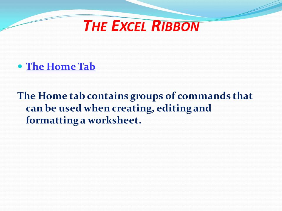 The Insert Tab The Insert tab can be used when you want to add particular elements to your worksheet, such as ClipArt, Shapes, Charts, Tables, Hyperlinks, Text Boxes, Headers and Footers, etc.