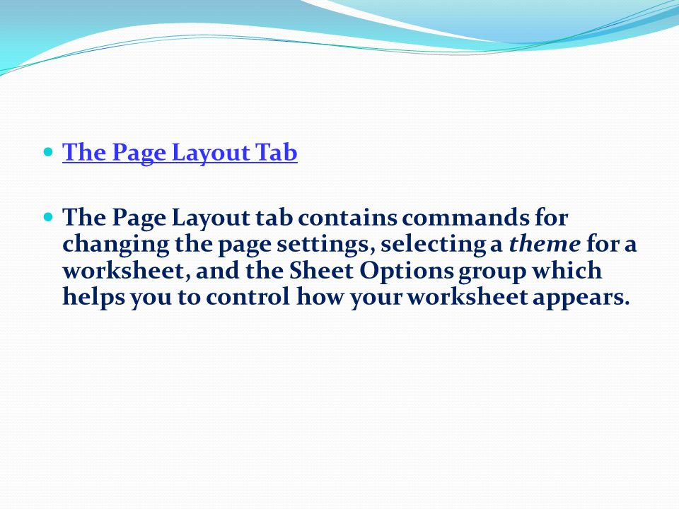 The Formulas Tab The Formulas tab contains all the commands that you need to help you build, analyse and manage formulas within your worksheet.