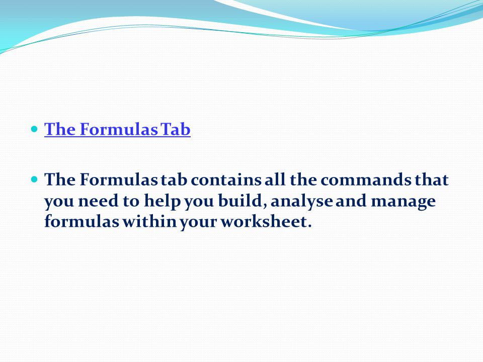The Data Tab The Data tab contains commands that will help you work with and manage data lists.