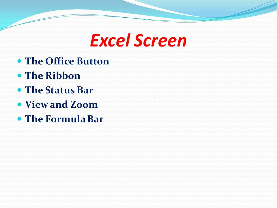 The Ribbon The Ribbon is the control centre of Excel.