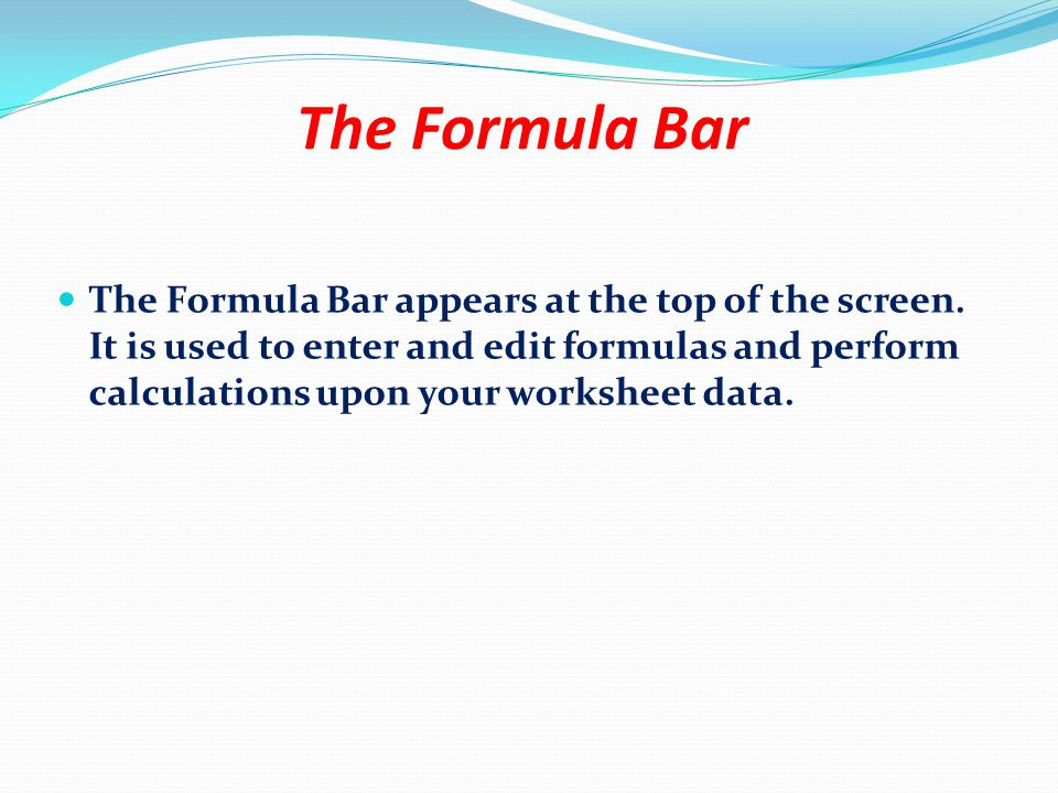 The Office Button The Formula Bar The Ribbon The Status Bar View and Zoom Worksheet cell