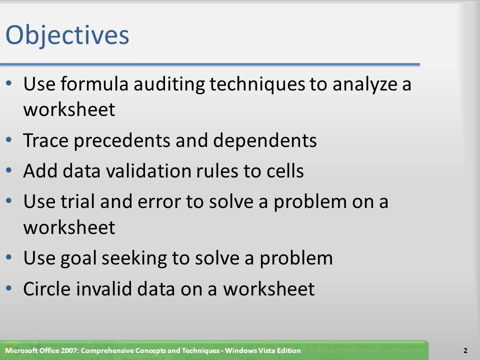 Objectives Use Excel's Solver to solve a complex problem Password-protect a workbook file Use Excel's Scenario Manager to record and save different sets of what-if assumptions Create a Scenario Summary of scenarios Create a Scenario PivotTable Save a workbook for use in a previous version of Excel Microsoft Office 2007: Comprehensive Concepts and Techniques - Windows Vista Edition3