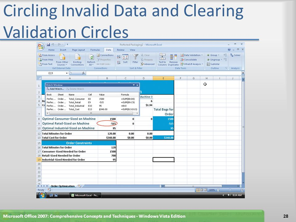 Using Solver to Find the Optimal Solution to a Complex Problem If necessary, click the Data tab on the Ribbon Click the Solver button on the Ribbon to display the Solver Parameters dialog box When Excel displays the Solver Parameters dialog box, click cell E13 to set the target cell to the name of cell E13, Total_Cost Click Min in the Equal To area Click the Collapse Dialog button in the By Changing Cells area to minimize the Solver Parameters dialog box Microsoft Office 2007: Comprehensive Concepts and Techniques - Windows Vista Edition29