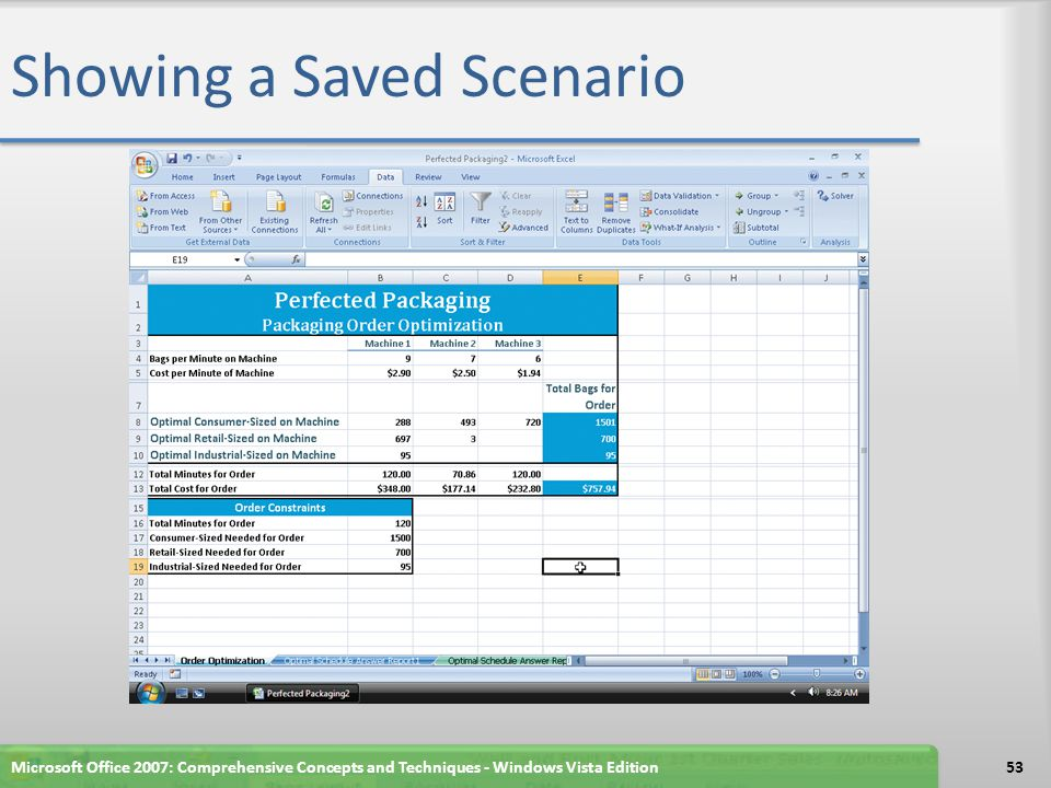 Creating a Scenario Summary Worksheet Click the What-If Analysis button on the Ribbon Click Scenario Manager on the What-If Analysis menu to display the Scenario Manager dialog box If necessary, in the Scenario Manager dialog box, select Order 1 Click the Summary button to display the Scenario Summary dialog box Click the OK button Microsoft Office 2007: Comprehensive Concepts and Techniques - Windows Vista Edition54