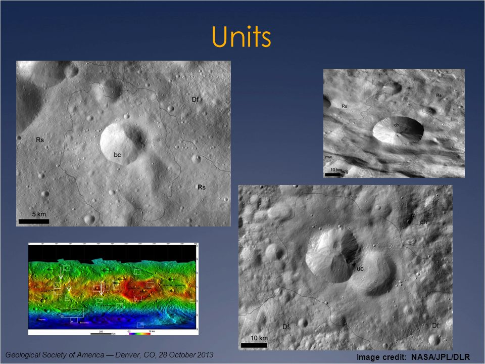 Units Geological Society of America — Denver, CO, 28 October 2013 Mass-wasting and smooth material, Marcia Crater.