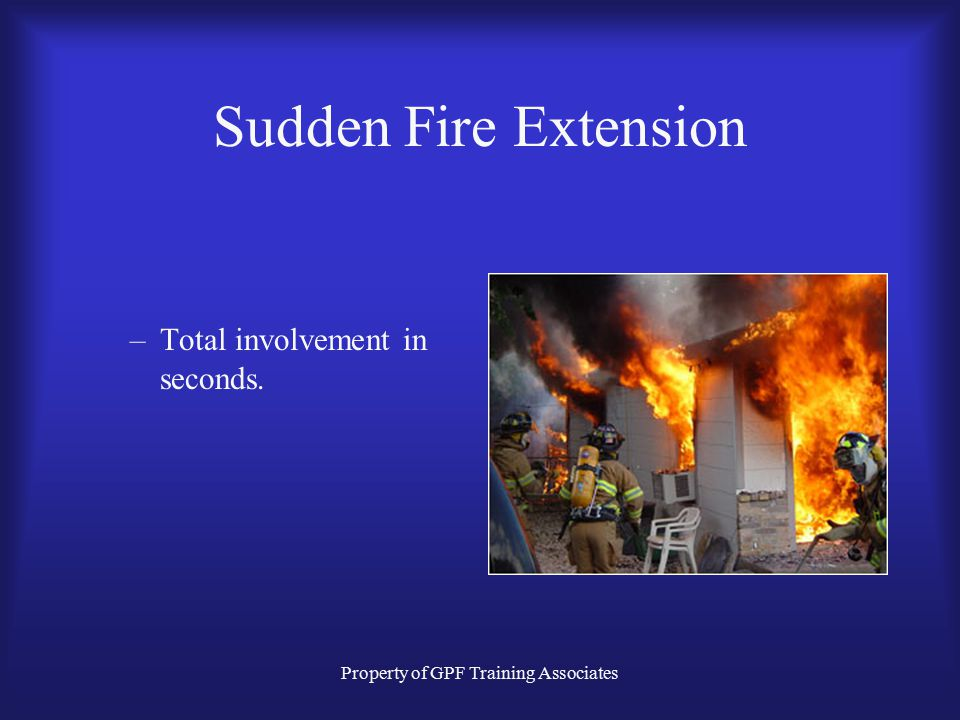Property of GPF Training Associates Sudden Fire Extension –Total involvement in seconds.