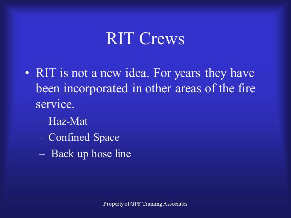 Property of GPF Training Associates RIT Crews RIT is not a new idea.