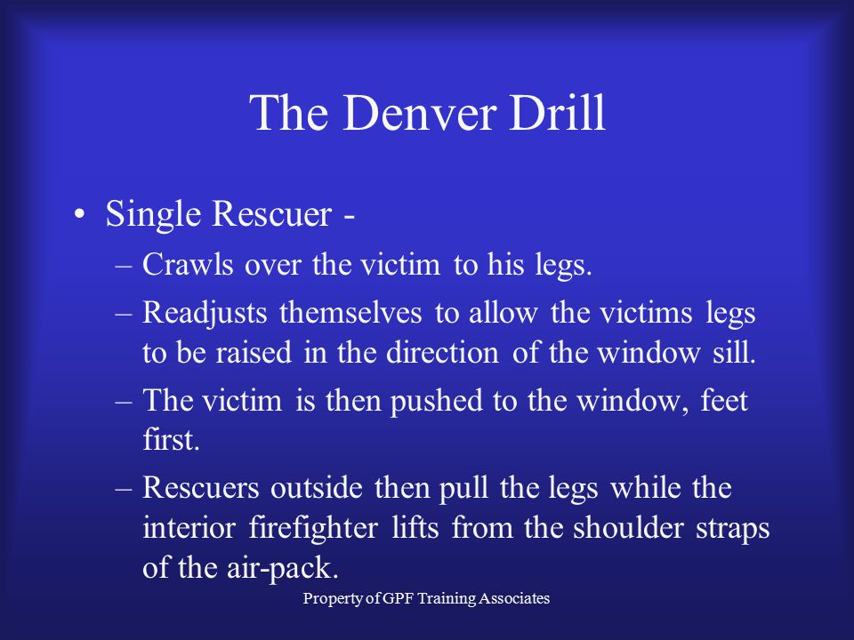 Property of GPF Training Associates The Denver Drill Single Rescuer - –Crawls over the victim to his legs.