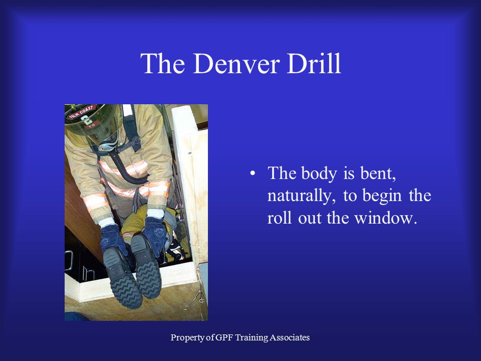 Property of GPF Training Associates The Denver Drill The body is bent, naturally, to begin the roll out the window.