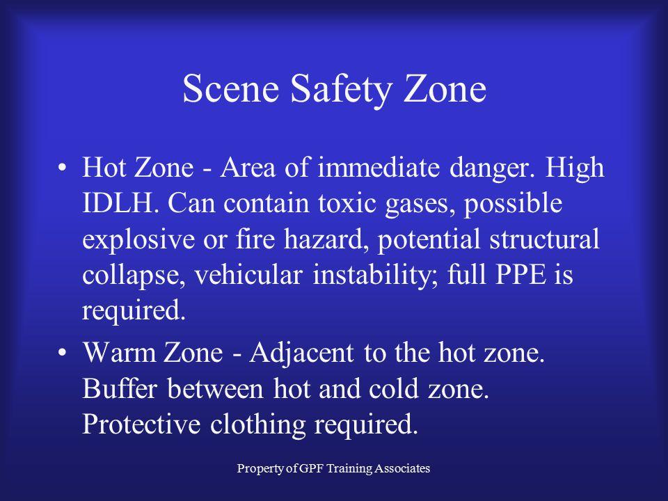 Property of GPF Training Associates Scene Safety Zone Hot Zone - Area of immediate danger.
