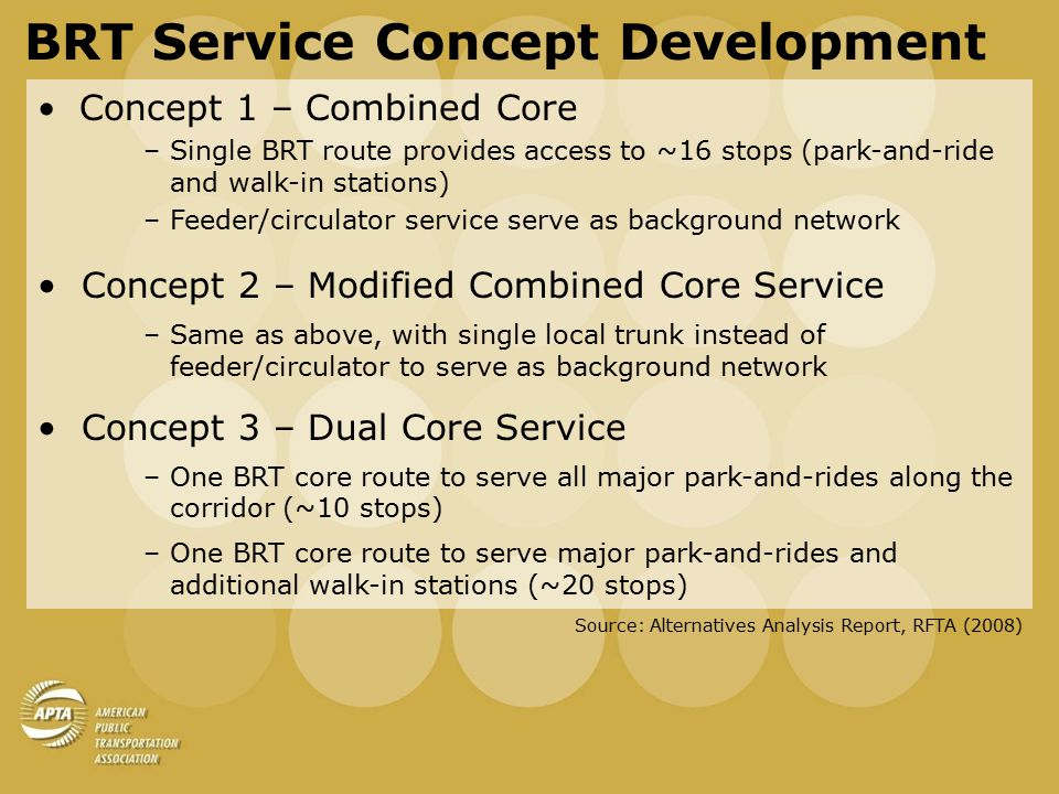 BRT Service Concept Development Concept 2 – Modified Combined Core Service