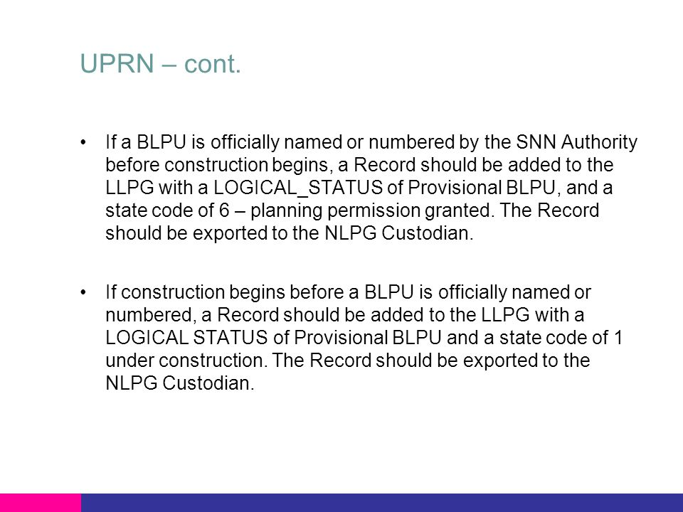 How does UPRN cope when the developer changes any key feature of the submitted plans.